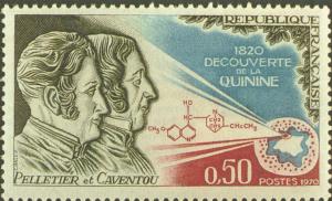Sello postal emitido homenaje por el descubrimiento de la quinina